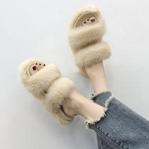 creepers fourrure chaussures femmes bande étroite plage sandales mujer plate-forme chaussures diapositives 2018 marque conception pantoufles femmes chaussures terlik