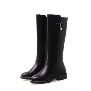 Favofans حار بيع إمرأة السيدات الجلود الاصطناعية جولة أصابع إبزيم كعب مربع سحب على الركبة أحذية عالية أحذية FF-B978