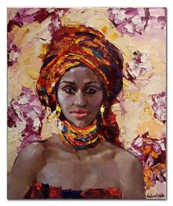 Handmade moderno astratto donna africana ritratto coltello pittura a olio su tela pittura a mano decorativa pittura sexy signora immagini