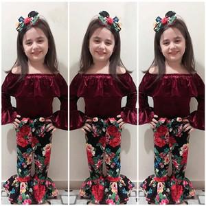 Baby-Outfits INS Mädchen Gold Samt Off Schulter Top + Floral Flared Hosen + Stirnband 3pcs / Set 2018 Sommer Anzug Boutique Kinder Kleidung Sets C4067