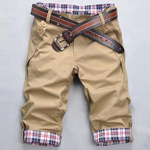 2017 nuevos hombres de algodón s ocio pantalones cortos hombres fitness pantalones casuales puños a cuadros negro kaki gris color 1901 envío gratis
