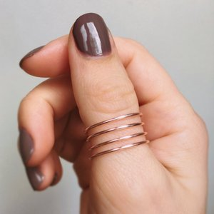 PINJEAS 로즈 엄지 손가락 반지 트위스트 소용돌이 조정 가능한 철조망 Plain Spiral Handmade vintage minimalist Jewelry promise ring