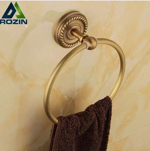 Free Shipping Wholesale And Retail Antique Brass Round Shape Towel Ring Towel Holder Wall Mounted Towel Shlef