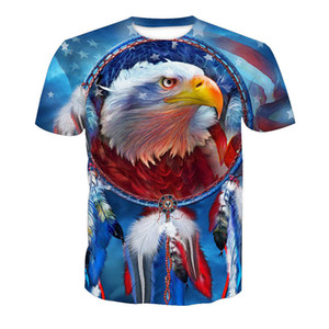 Wholesale Free Shipping New Design 3D American Flag Eagle Printed Men Fashion T shirt Tees 6XL