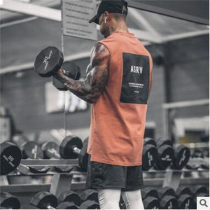 High Quality 2020 estate i più nuovi Mens di marca curvo Hem Patchwork Palestre Stringers Vest Abbigliamento Bodybuilding Man fitness Serbatoi Top