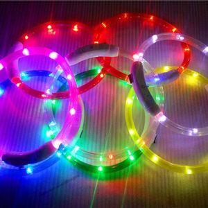 Carregamento USB Glowing Dog Collar Recarregável LED Tubo Piscando Coleiras de Cão À Noite Luminosa Segurança Collar Cat Filhote de Cachorro