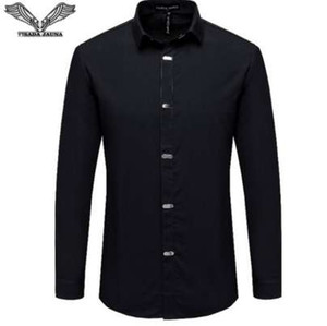 VISADA JAUNA Camisas dos homens 2017 Outono Nova Chegada Estilo Britânico Casual Manga Longa Sólida Negócio Masculino Slim Fit Camisa 4XL N511