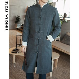 Sinicism Store Men Trench Coat 2018 Man Fashion Long Coat Men Chinese Style Cotton And Linen Button Black Windbreaker Jacket