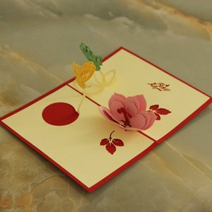 Wholesale- Party flower Invitation Card handmade decoration flower Invitation Delicate Carved Pattern invitation de mariage 3D paper craft