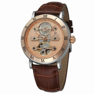 Classic Fashion Tourbillon Genuine Leather Rose Gold Dial Roman Number Case Automatic Self Wind Mechanical Watch Men Watch New