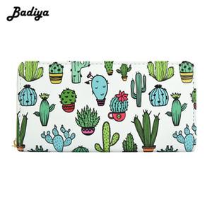 Badiya Cartoon Cactus Imprimir Billetera de Dibujos Animados Para Hombres Mujeres Diseño de Marca Hombres Titular de la Tarjeta Monedero de Alta Calidad Con Bolsillo de Teléfono