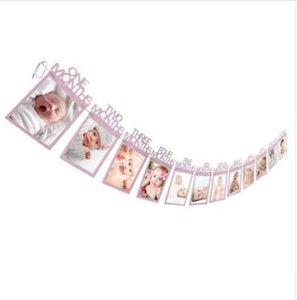 1-12 mesi bambino Photo holder Bambini Regalo di compleanno Decorazioni per la stanza Photo Banner Mensola Photo Frame Wall Folder Home Decor