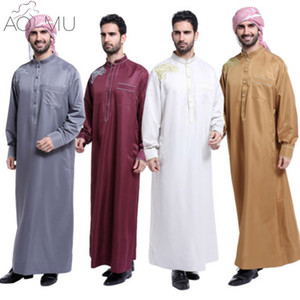 AOMU Men Saudi Thobe Islamic Muslim Clothing Arab Male People Dress Thobe Arabic Abayas Dress  Mens Kaftan Robe