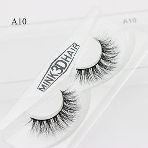 A10 Top Eyelashes 3D Mink Lashes Natural HandMade Full Strip Ciglia Terrier trasparente Short Visone Style Ciglia finte
