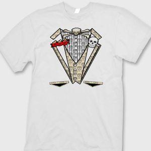 جمجمة TUXEDO T-shirt عظام مضحكة زفاف Grad Groom Groom Tee Shirt