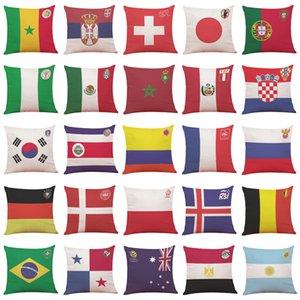 45 * 45 cm Coppa del mondo Bandiera nazionale copertura della cassa del cuscino 32 Calcio squadra di calcio Logo copertura Throw Cushion Home Divano auto Decor Club WX9-496