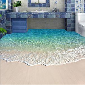 Auto-adhésif mural Plancher Photo Wallpaper Plancher vague 3D autocollant salle de bains Seawater Wear antidérapants Papiers peints étanche