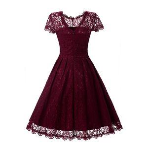 Womens Vintage Tunika Spitzenkleid Weibliche Robe Casual 50er Jahre Rockabilly Kurze Flügelärmeln V-Back Swing Sommerkleider