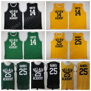 OF The Fresh Prince TV 14 Will Smith Jersey BEL-AIR BEL AIR Academy Pallacanestro 25 Carlton Banks Maglie Giallo Nero Verde Abiti da college
