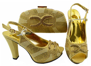 Most popular gold women pumps match bag set with rhinestone african shoes and handbag for dress JZS-03,heel 11CM