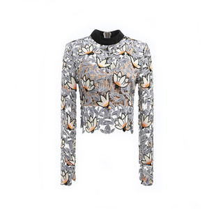 Self portrait tops 2018 spring high quality elegant long sleeve floral emmbroidery hollow out lace blouse women