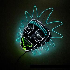 Nueva Fiesta nocturna Cosplay Iluminación Grimace Máscara LED Luz intermitente Máscara del cráneo Esqueleto Halloween Rave Party Favor Cosplay Suministros