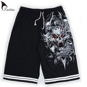 2018 New Tastien Brand Luminous Shorts para hombre Summer Wolf Skull Print Pantalones cortos de algodón Fluorescente personalizado Noctilucent Boys Shorts
