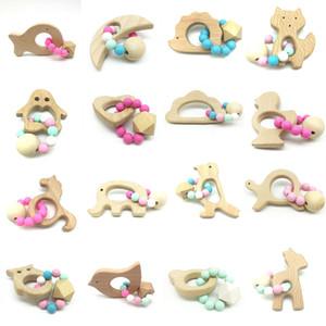 Baby-Beißring Ringe Food Grade Buchenholz Beißring Beißringe Kauspielzeugen Dusche Wiedergabe Chew Rundholzperlen C23