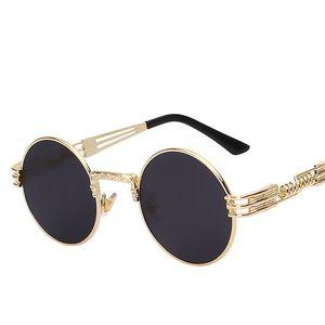 Tons redondos Marca Designer Sun óculos Espelho de Alta Qualidade UV400 Gótico Steampunk Óculos De Sol Das Mulheres Dos Homens Envoltório De MetalEyeglasses