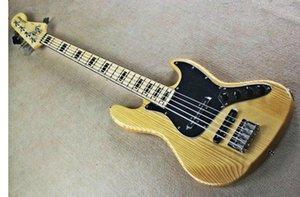 공장 도매 GYJB - 5005 오리지널 우드 컬러 블랙 플레이트 크롬 하드웨어 액티브 픽업 5 현 재즈베이스 일렉트릭 기타, 무료 배송