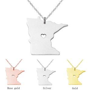 Collier de charme en acier inoxydable État du Minnesota États-Unis carte colliersPendentifs collier de l'état personnalisé avec un cadeau de bijoux de coeur