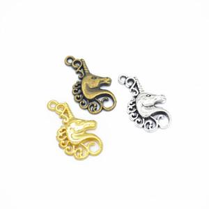 300pcs / много 25x16mm, Unicorn Подвески, старинное серебро, бронза, золото голова лошади очарование кулон, DIY принадлежности, Изготовление ювелирных изделий