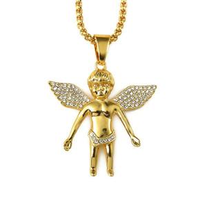 2018 Uomo Hiphop Gioielli Micro Angel Piece Collana Fascino Color Oro Catena Hip Hop Bling Rappers Collier Regali femminili