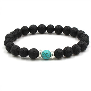 Lava Stone Beads Bracelets Natural Black Essential Oil Difusor Elástico Bracelet Volcanic Rock Beaded Hand Strings Yoga Chakra Pulsera hombre