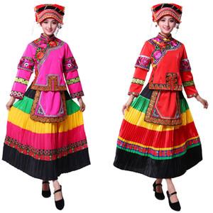 Les femmes ethniques Miao Stage portent un costume ancien Folk traditionnel coloré Danse Danse du festival chinois Un vêtement Hmong Miao Vêtements