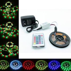 1 conjunto 5 M OU 10 M 2835 SMD RGB LED faixa de luz Corda Fita Lâmpada decoração Fita + 24 Teclas Controle Remoto + 12 V 2 / 3A Adaptador de Energia