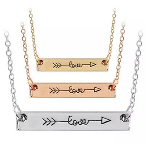 Cupid Amor Seta Colar Minúsculo Barra Horizontal Colares com prata rosa de ouro Cadeia para As Mulheres Amantes Moda Carta Amor Colar
