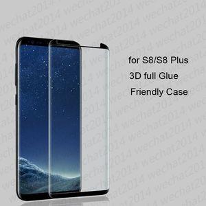 100PCS 3d كاملة الغراء في adhensive حالة دية الزجاج المقسى شاشة الهاتف حامي لسامسونج غالاكسي S8 S9 S10 S20 زائد ملاحظة 8 9 10 20