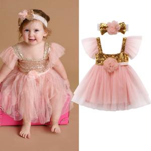 Flower Baby Girl Princesa lantejoulas rosa Tutu Vestido com Headband da festa de casamento da criança do bebê em camadas de tule Vestidos Vestido de Verão Vestidos