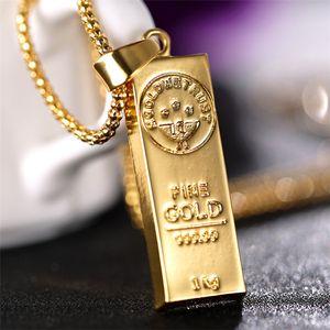 Colar de Aço inoxidável Iced Out Forma de Ouro Bar Pingente Caixa Redonda Cadeia Fortuna Charme Colar Hip Hop Presente de Natal Dos Homens