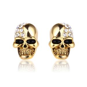 316L en acier inoxydable Crâne Boucles d'oreilles strass Pirate Réglage squelette Femmes Hommes Boucles d'oreilles Bijoux Halloween cadeau de Noël