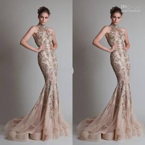 Cuello alto y lujosos apliques de plata Sexy ver a través del botón de organza Volver Sirena Trompeta Elie Saab noche formal vestidos de baile con