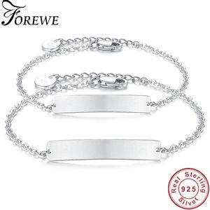 Personalizado personalizado 925 Sterling Silver Pulsera Nombre Grabado Bar Charm Bracelets Mujeres Hombres Nombre de letra personalizado Regalo de la joyería