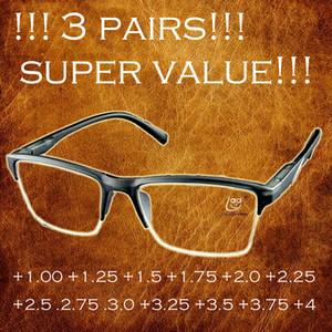 3PAIRS !!! نظارات القراءة نصف حافة سوداء لمكافحة التعب للنساء الرجال موضة النظارات +0.25 +0.75 +1.25 +1.75 +2.25 +2.75 +3.25