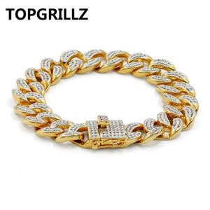 TOPGRILLZ хип-хоп рок ювелирные изделия позолоченные кубинская цепь Micro проложить CZ камни браслет 8 дюймов длина Beacelets для мужчин