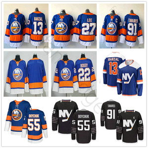 2018 Yeni Stil New York Adalılar Hokeyi 13 Mathew Barzal 22 Mike Bossy 27 Anders Lee 55 Johnny Boychuk # 91 Tavares Jersey
