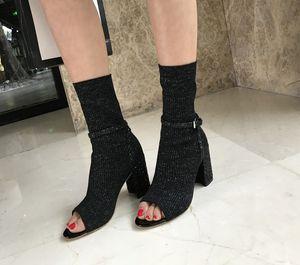 Мода трикотажные peep toes высокий каблук лодыжки пряжки сапоги весна и осень Женская обувь эластичный носок носки сапоги шерсть чистая прохладно сапоги