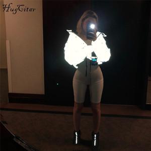 Hugcitar с длинным рукавом светоотражающий карман на молнии хлопка-ватник толстая куртка 2018 осень зима женщины новая мода парки