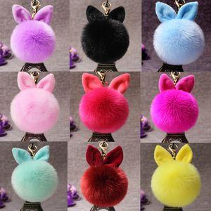 New Plush Keychain Pendant Cute Rabbit Ear Hairball Pendant Bag Pendant Keychains mix order 30pcs lot T2C007