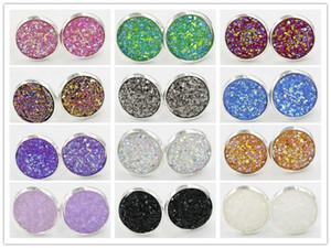 Cristalli 12 millimetri Womens resina Druzy Gem 925 placcato Colore della vite prigioniera di Bling orecchini regalo dei monili